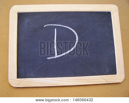 Slate used by students in the preparatory work - letter D