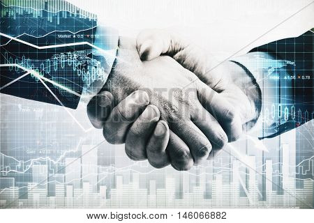 Businesspeople shaking hands on abstract city background with business chart. Partnership concept. Double exposure