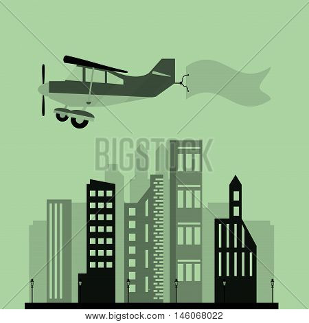 airplane and advertising banner over city vector illustration