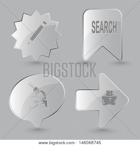 4 images: pencil, search, lab microscope, inkstand. Education set. Glass buttons on gray background. Vector icons.