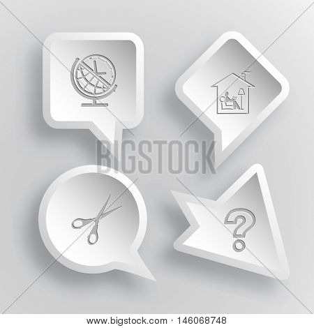 4 images: globe and clock, home reading, scissors, query sign. Education set. Paper stickers. Vector illustration icons.