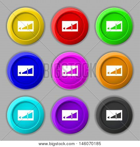 Volume Adjustment Icon Sign. Symbol On Nine Round Colourful Buttons. Vector