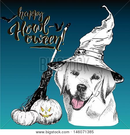 Vector greeting card for Halloween.Labrador retriever dog wearing the witch hat. Broom and pumpkin lanterns. Decorated with lettering Happy Howl-oween and bats. Hand drawn.