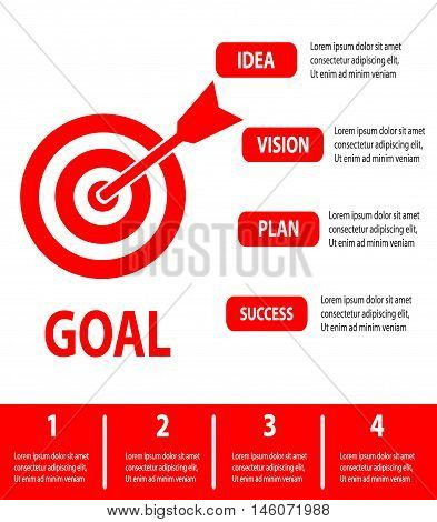 Business Concept, goal concept isolated on white background, Infographics, Vector Illustration.