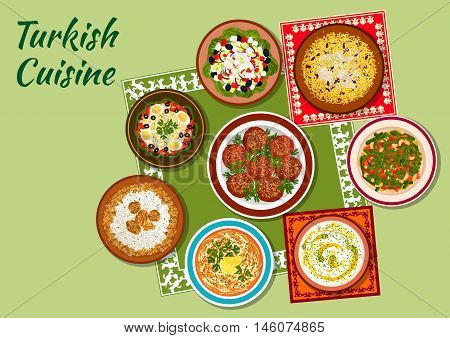 Turkish cuisine icon with chicken pilaf, rice soup with mint, meatballs kofte, white bean salad, chicken vermicelli soup, shepherd vegetable salad, circassian chicken with walnuts, green bean salad