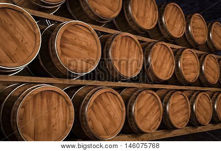 Wooden winemaking barrel on a stock 3d illustration