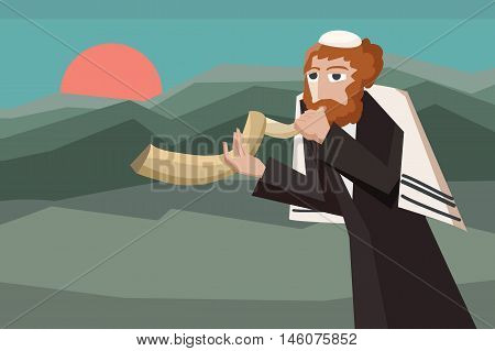 jew blowing the shofar - vector cartoon illustration for jewish holiday
