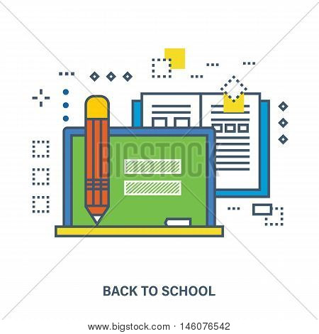 Back to school flat icons design. Set of distance education and e-learning. Online course from universities and colleges proposes video-on-demand, forum, communication.