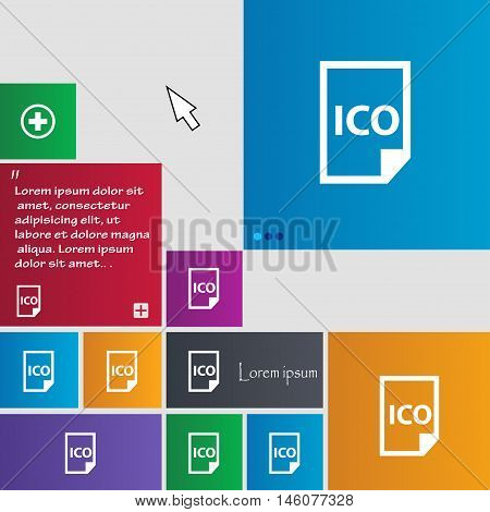 File Ico Icon Sign. Buttons. Modern Interface Website Buttons With Cursor Pointer. Vector