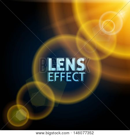 Realistic collimated light beam. The effect of the sun flare. Bright yellow orange warm lighting. Vector illustration.