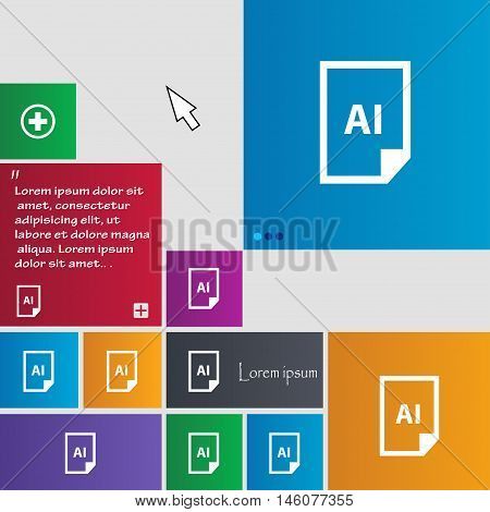 File Ai Icon Sign. Buttons. Modern Interface Website Buttons With Cursor Pointer. Vector