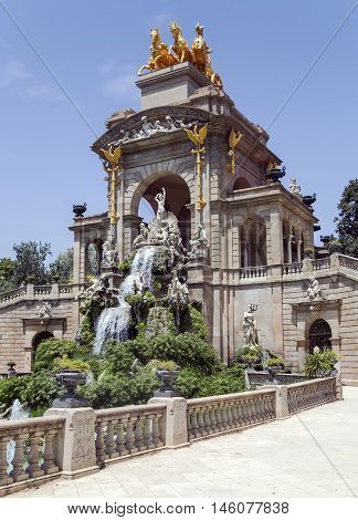 Cascade fountain of Parc de la Ciutadella in Barcelona, Spain. It was erected by Josep Fontsere and to a small extent by Antoni Gaudi, who at that time was still an unknown student of arc