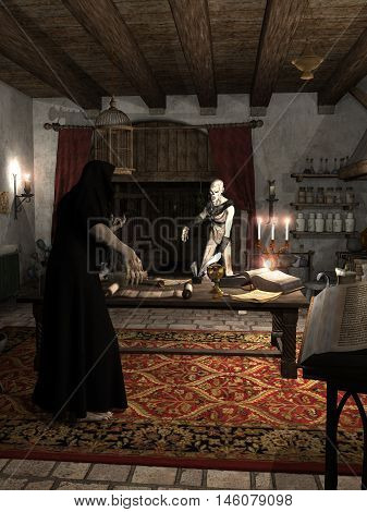 Fantasy illustration of an undead zombie facing a necromancer in his study, digital illustration (3d rendering)