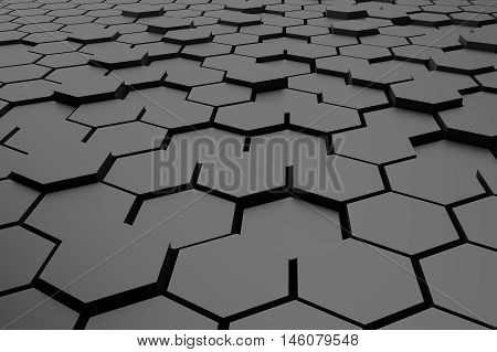 abstract grey hexagons 3d rendering for background