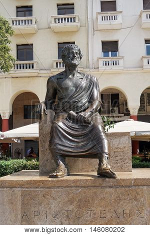 Thessaloniki, Greece - September 04 2016: Aristotle statue Aristotelous square. The statue of Aristotle the philosopher on the main homonymous square of Thessaloniki, by the waterfront of the city.
