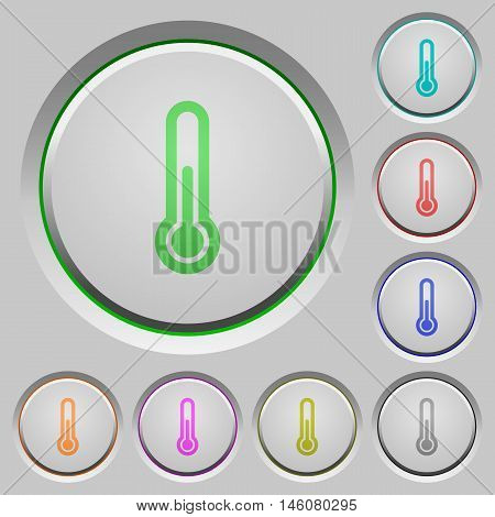 Set of color thermometer sunk push buttons.