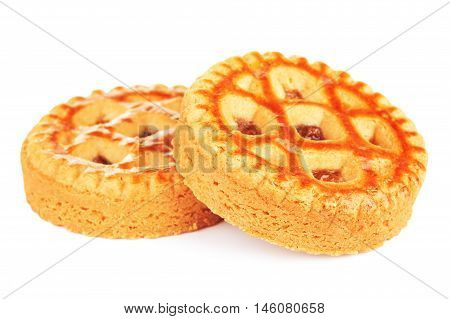 soft cookies with apple paste, isolated on white