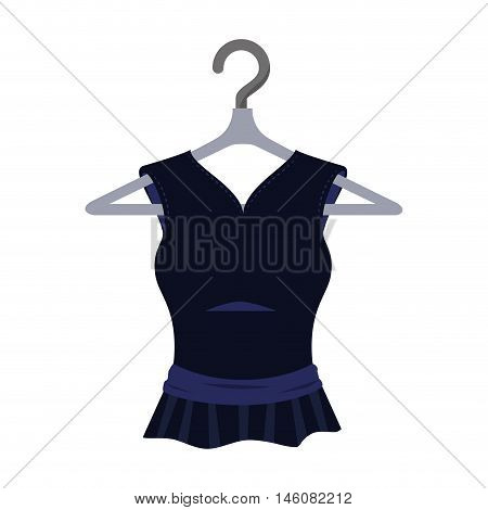 black blouse hanging in a hook. sewing garment fashion clothing.  Vector illustration