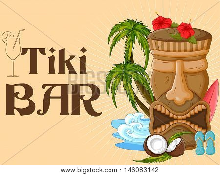 Vector design of Tiki bar poster with tribal mask