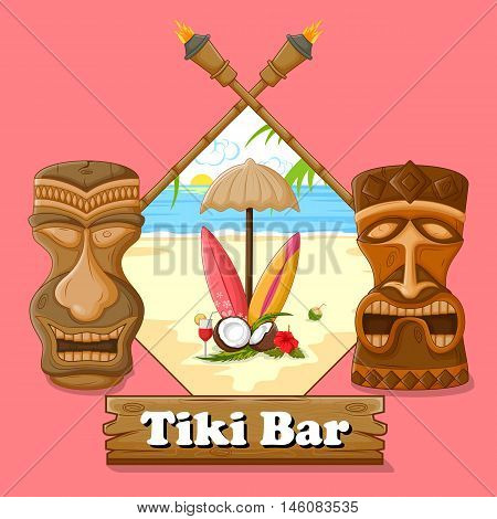 Vector design of Tiki bar poster with tribal mask