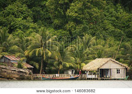 Stilt houses Ream National Park Cambodia Southeast Asia