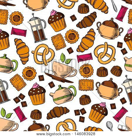 Pastries and sweets with tea drinks seamless background with pattern of tea cup, cupcake, croissant, chocolate, cookie, candy, pretzel, tea pot and sugar bowl