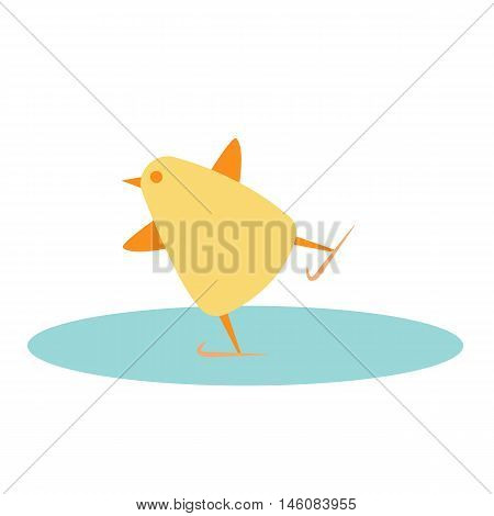 chick skating on ice vector illustration style Flat