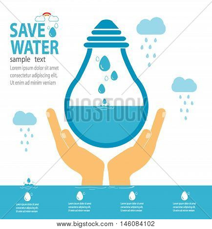 Save water concept, Ecology Save The Water, Water conservation concept. Vector illustration