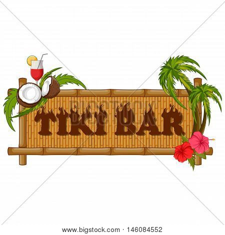 Vector design of Tiki bar poster on bamboo