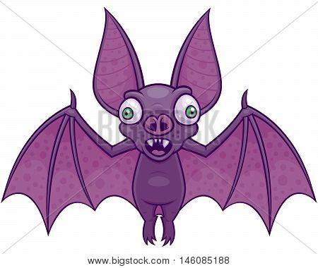 Vector cartoon illustration of a wacky vampire bat.