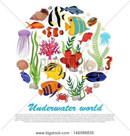 Sea life animals plants poster with isolated icon set combined in big round and underwater world description vector illustration