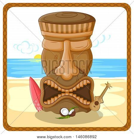 Vector design of tropical background with tribal Tiki mask