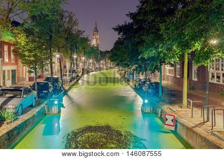 Scenic night view of Oosteinde channel Nieuwe Kerk New Church . Delft. Netherlands.