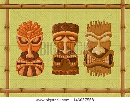 Vector design of Hawaiian Tiki tribal mask for religious or ethnic design