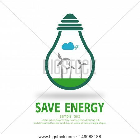 Bulb light with wind turbine inside, Eco green energy, save energy , Save the World, Vector Illustration
