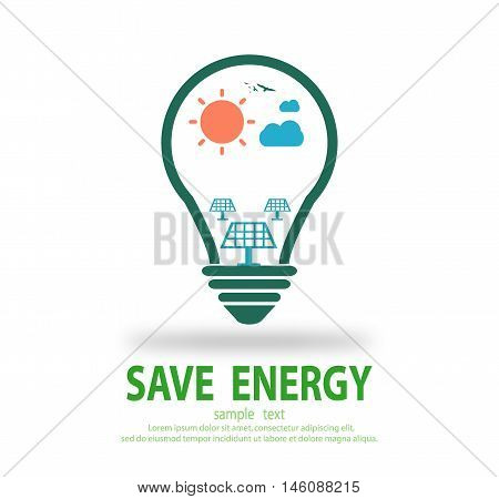 B Bulb light with solar cell energy inside, Eco green energy, save energy , Save the World, Vector Illustration