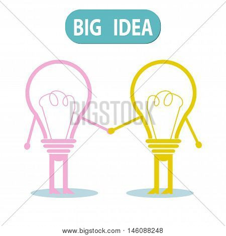 Light bulb idea concept , bulb idea handshaking