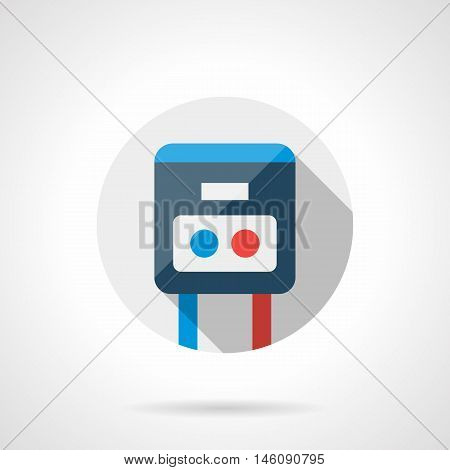 Abstract device with blue and red buttons. Switch for warm floor system. Household heating controller. Gray round flat vector icon with long shadow.