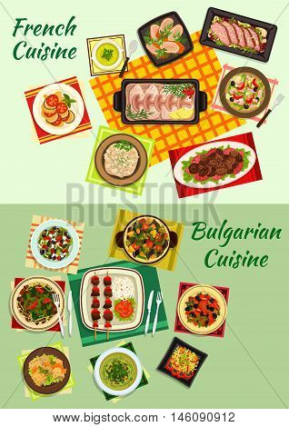 French and bulgarian cuisine icon with lamb kebab, baked cod in bechamel sauce, fish and meat salads, vegetable and meat stew, cabbage and pea soups, cabbage roll, meat dishes with prunes and sauce