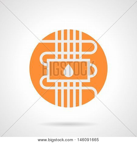 Abstract white silhouette sign of water heat-insulated floor. Home improvement with modern technology. Contemporary heating system. Orange round flat style vector icon.