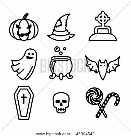 Collection of nine halloween icons, lineart design, vector illustration.