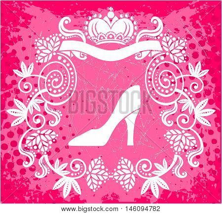 High heel royal floral frame with crown