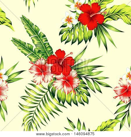 Seamless vector illustration of tropical palm banana leaves and exotic flowers hibiscus and plumeria on a light yellow background. Floral art painting paradise pattern