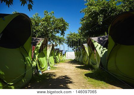 Rows Of Identical Tents Under Trees