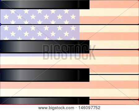 Black and white piano keys with a tint of age and imposed on an Old Glory flag