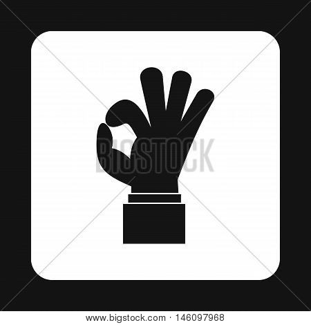 Ok gesture icon in simple style on a white background vector illustration