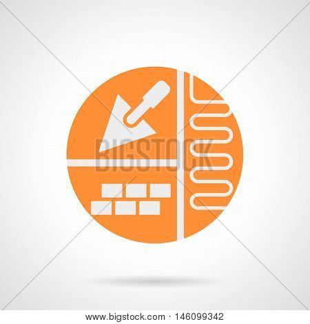 Abstract white silhouette sign of improvement. House with heated flooring concept. Trowel and project for underfloor heating. Orange round flat style vector icon.