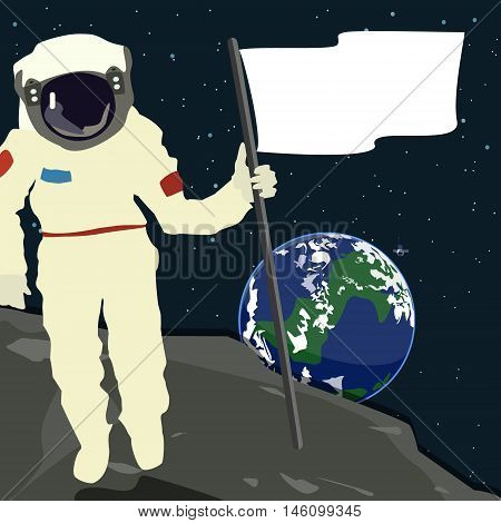 Astronaut in outer space Astronaut holding a flag vector
