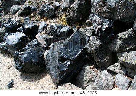 Obsidian Boulders From Lava Flow