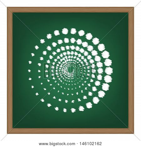 Abstract technology circles sign. White chalk effect on green school board.